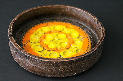 Mid Century Bitossi Italy Mod Ceramic Ashtray Yellow&Orange Aldo Londi  NICE!