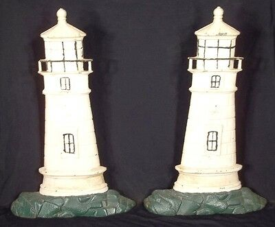 Monumental Pair Of Vintage Cast Iron Painted Lighthouse Doorstops