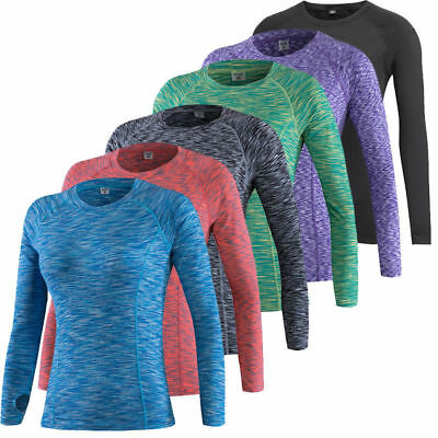 Womens Long Sleeve Thermal Baselayer Compression Sports Yoga Fitness Top T Shirt