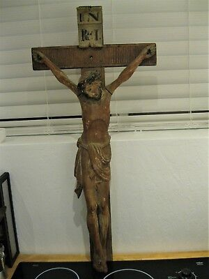 Antique Hand Carved Wood Crucifix ,black Forest Germany Great Carving Detail
