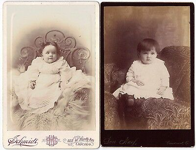 PAIR OF LITTLE GIRL in WHITE DRESS Cabinet Cards Antique Photograph Chicago