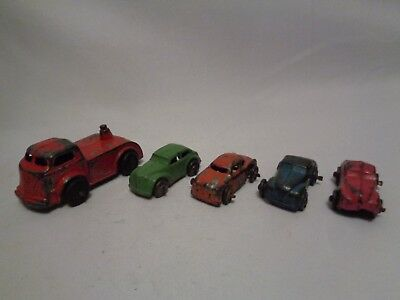 1950s Antique Barclay Metal Cars for Auto Hauler with Truck Cab 5 pc