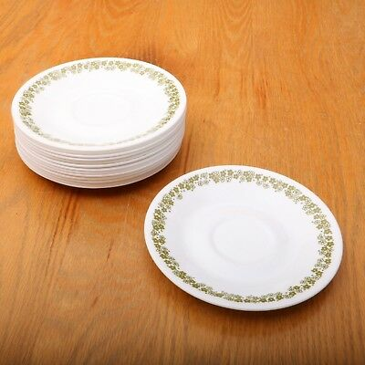 14 Corelle Green Spring Blossom Crazy Daisy Saucers Vintage