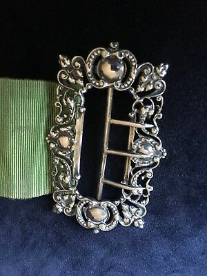Edwardian Silver Nurses Ladies Belt Buckle & Belt - B'ham Synyer & Beddoes 1906