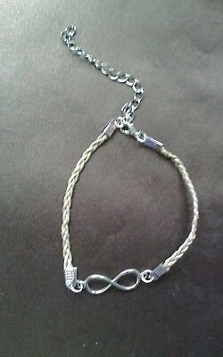 Handmade Ivory Anklet Bracelet with Silver Infinity Charm ( 113 )