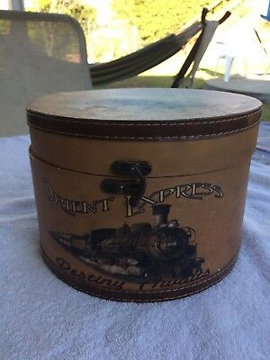 ANTIQUE HAT BOX  Vintage Round collectible THE ORIENT EXPRESS ONLY ONE AROUND