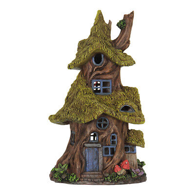 Fairy Garden Mini - Solar Mossy Thatch Roof Tree House