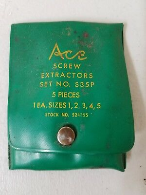 ACE TOOLS 5 PIECE SCREW EXTRACTOR SET No. S35P - MADE IN USA- HANSON 1 2 3 4 5
