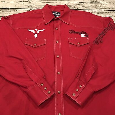 Wrangler Twenty X 20X Bull Rodeo Western Men's Extra Large XL Shirt Red Snap