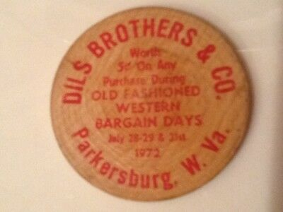 Vintage DILS BROTHERS & CO. (Parkersburg, W. VA.)Wooden Nickel BUFFALO
