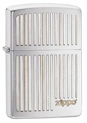 Zippo Windproof Chrome Lighter With Logo, Vertical Lines, 28646, New In Box