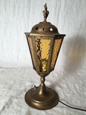 Vintage Brass Stained Glass Table / Accent Lamp - Working - Peerage England