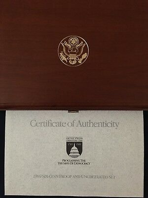 1989 US Congressional Six-Coin Proof and Uncirculated Set, w/Two $5 gold coins