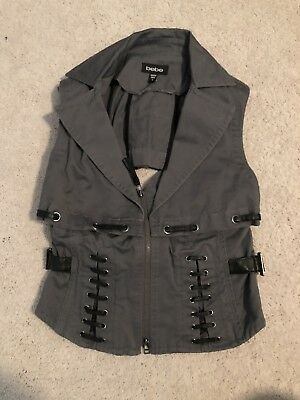 Bebe Vest  gray w/ black leather small