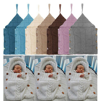Newborn Baby Hooded Swaddle Wrap Warm Knit Swaddling Blanket Sleeping Bag