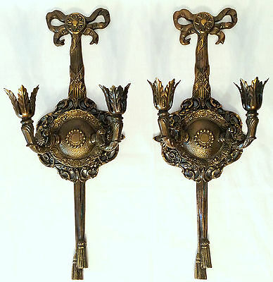 """Vtg 20"""" Pair French Bronze Dore Caldwell Bow Tassel Neoclassical Wall Sconces"""
