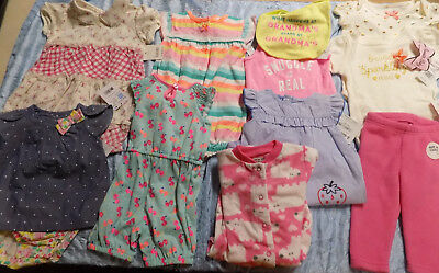 New Baby Girl Clothes Lot Sleeper Outfits Bib Headbands Size 3-6 Months 3M-6M 9M