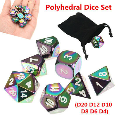 7Pcs Set Rainbow Metal Polyhedral Dice w Bag DND RPG MTG Role Playing Board Game