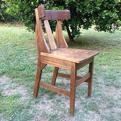 VINTAGE WOODEN CHAIR SOLID OAK TIMBER Curved Back Rest