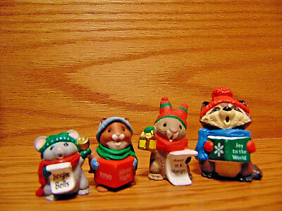 4 HALLMARK Merry Miniatures Christmas CAROLERS jingle bells joy world manger