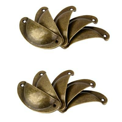 10Pcs Antique Brass Door Cabinet Knobs Kitchen Drawer Shell Pulls Handle Cup