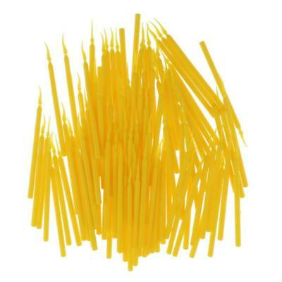 100 Pcs Dental Long Handle Poly Plastic Wedges Interdental Size Small Yellow