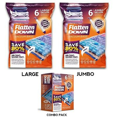 6 x Large Jumbo Vacuum Storage Bags Space Saving Compressed Bags, Free Hand Pump