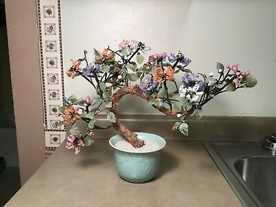 "Vtg Jade Bonsai Tree Large Japanese Oriental Rose Quartz Agate Glass 21"" X 12"""