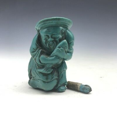 China (artificial turquoise) pure hand-carved old man snuff bottle