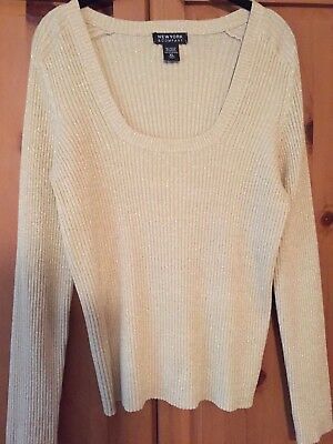 New York and Co. Beautiful Golden Ribbed Knit Sweater Top Blouse..size XL