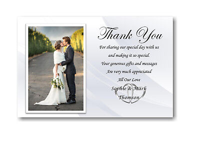 30 Personalised Wedding Day , Wedding Evening Thank You , Thankyou Cards Ref W3