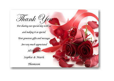30 Personalised Wedding Day , Wedding Evening Thank You , Thankyou Cards Ref W8
