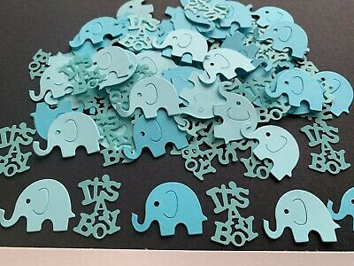 150 Blue card elephant table confetti Baby Shower Christening Birthday its a Boy