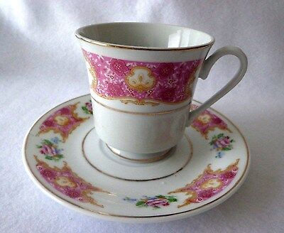 Collectible Napco Cup & Saucer - Fine China - Floral Motif With Gold Tone Trim
