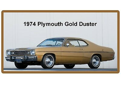 1974  Plymouth Gold Duster Auto Refrigerator / Tool Box Border Magnet