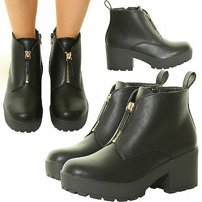 Ladies Womens High Chunky Platform Block Heel Ankle Zips Black Goth Shoes Boots