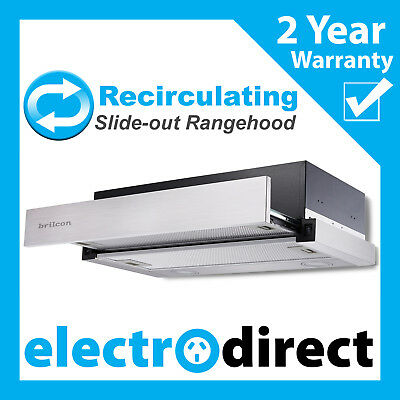BRILCON 60cm Recirculating Slide-out Rangehood Retracting Slideout Stainless