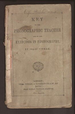 GB. 1881. Key to the Phonographic Teacher booklet. Shorthand. approx 40 pages.