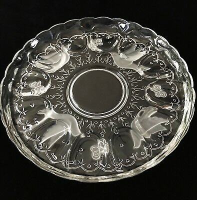 """Deviled Egg Relish Plate Indiana Glass """"Spring Garden"""" Doves Butterflies in Box"""