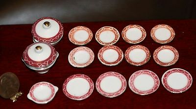 Dollhouse Miniature 1:12 Scale Ceramic Dinner Set in Red &Gold