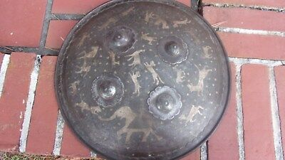 Early Antique Indo-Persian Mughal Iron Shield with Gold Elephants Tigers Camels