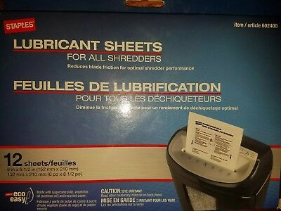 Staples? Shredder Lubricant Sheets 12/pk Shredder Sheets