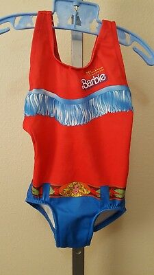 Vintage 1981 Little Girls Western Barbie One Piece Swimsuit Size 4 Usa Made