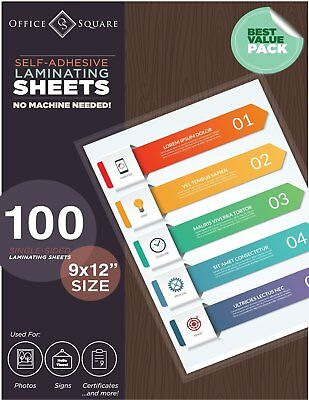 100-Pack Self-Adhesive Laminating Sheets by Office Square, Self-Seal, No Machine