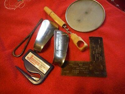 Junk Drawer Mixed Lot of 7 Items Oil Mirror, cork screw, mini square, shoe horn
