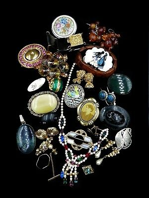 Antique Victorian Vintage Jewellery MIXED JOB LOT Gold Silver Amber Jet Pearls