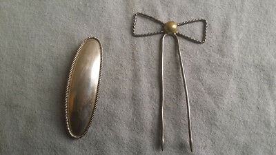Vintage Lot of 2 Silver Hair Pieces: Mexican Sterling Clip & Hair Pin (30g)