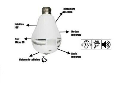 Telecamera Nascosta Spia 360° Lampadina Spy Wireless Micro Camera Sicurezza Casa