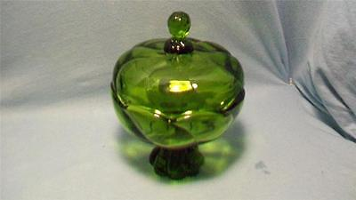 Viking Glass Green Lidded Footed Candy Dish