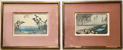 PAIR Old Antique Japanese Anto HIROSHIGE WOODCUT BLOCK Prints Landscapes FRAMED